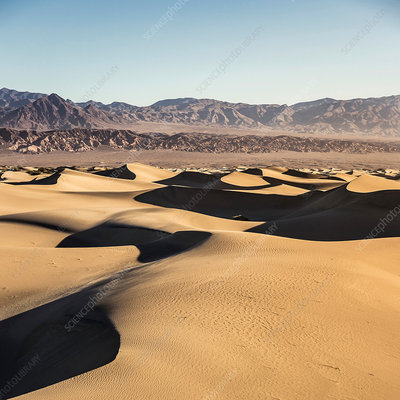 Shadowed Mesquite Flat Sand Dunes in Death Valley, USA