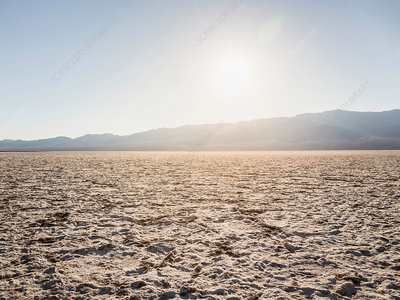 Flat dry mud at Badwater Basin in Death Valley, USA
