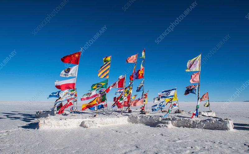 International flags on salt flats, Bolivia