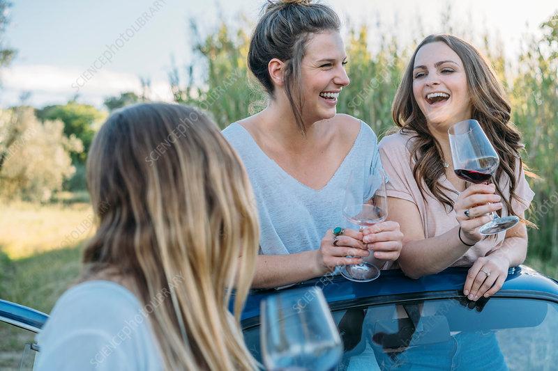 Friends drinking wine in car, Firenze, Italy