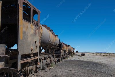 Rusted steam trains at the train cemetery in Uyuni, Bolivia