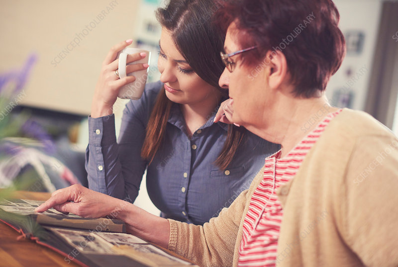 Young woman with grandmother looking at photo album