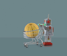 Toy robot pushing miniature shopping trolley with melon