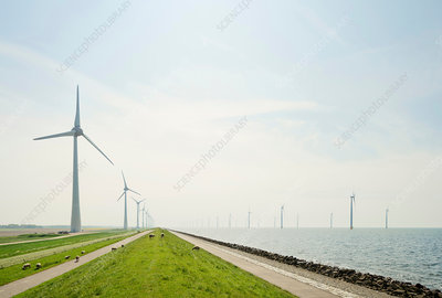 On and off shore wind turbines, Netherlands