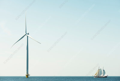 Off shore wind turbine and sailing ship, Netherlands