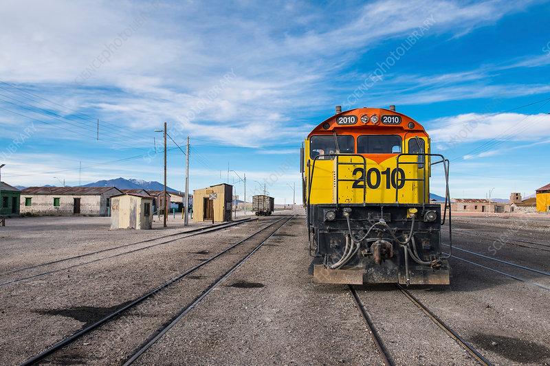 Train and train tracks, Antofagasta, Chile