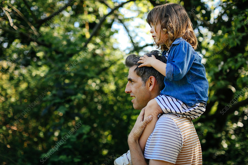 Father piggybacking little girl on nature walk