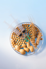 Cereals and nuts in petri dish with syringes