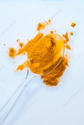 Turmeric powder on spoon