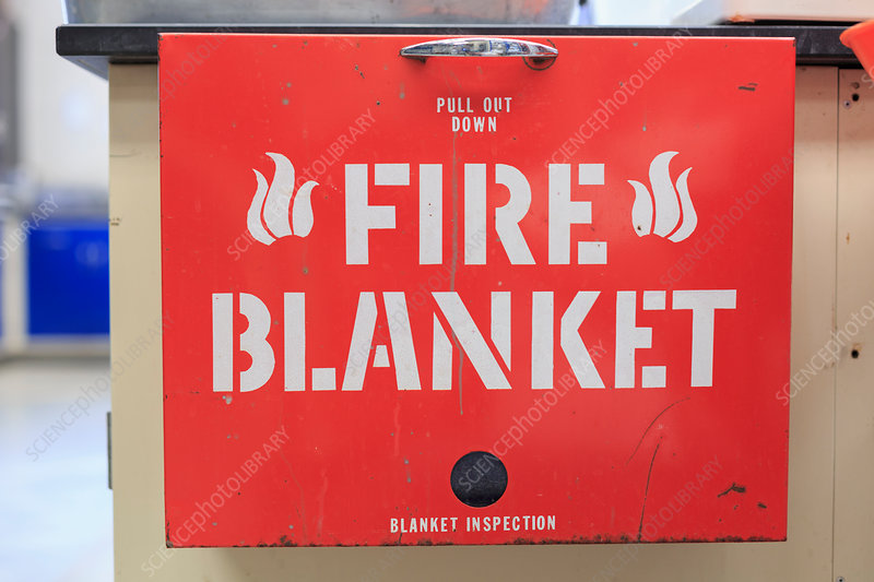 Fire blanket in chemistry lab