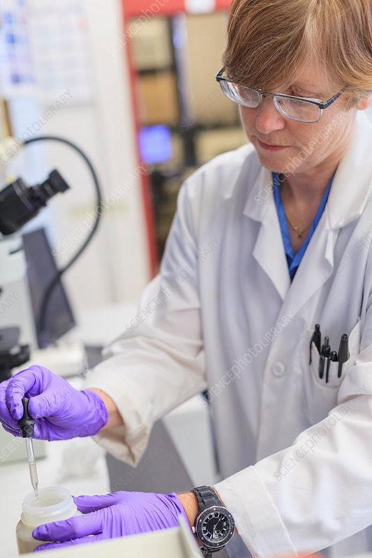 Chemist using dropper