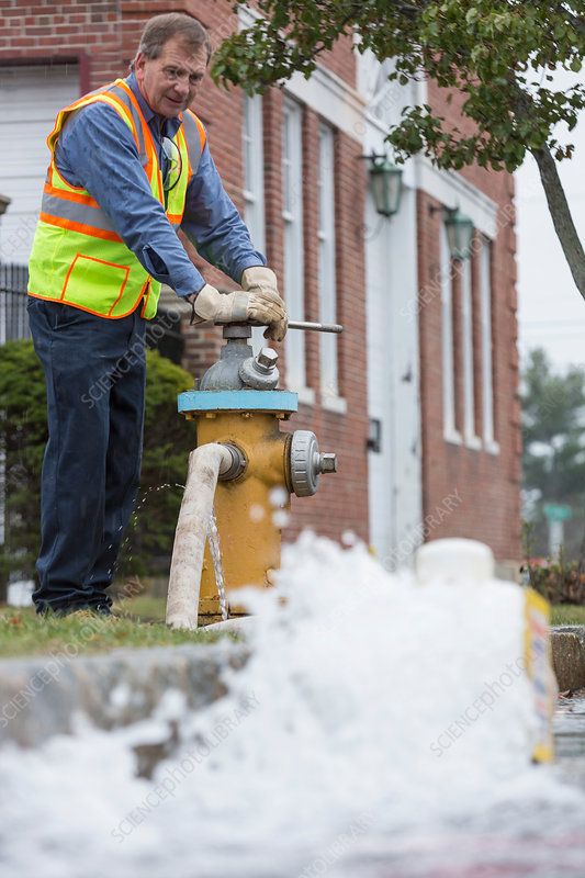 Opening fire hydrant to flush water mains