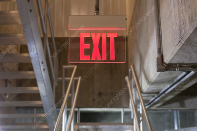 Exit sign in water treatment plant