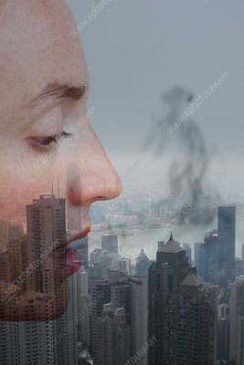 Female face with urban pollution