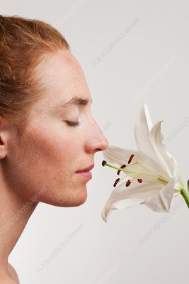 Woman smelling white lily flower