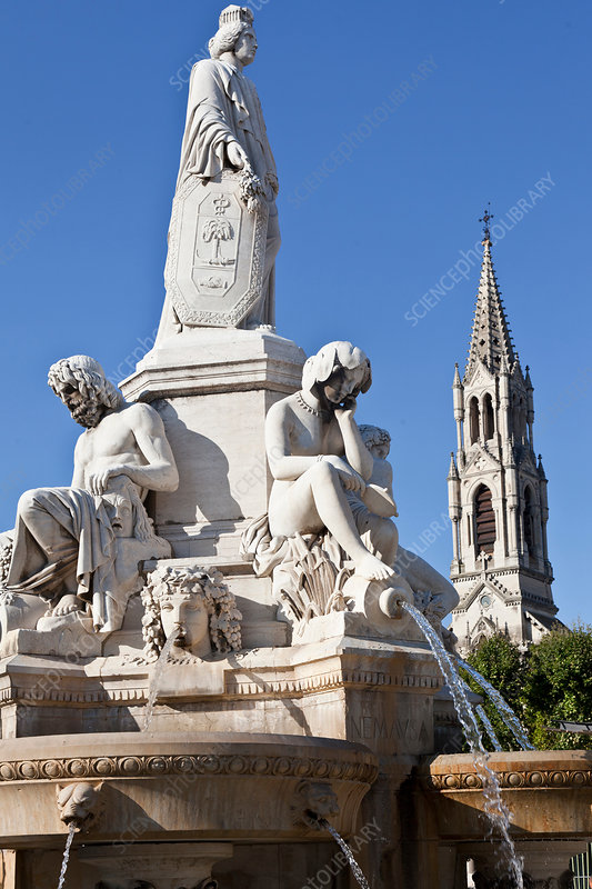 Fountain Pradier, Nimes, France