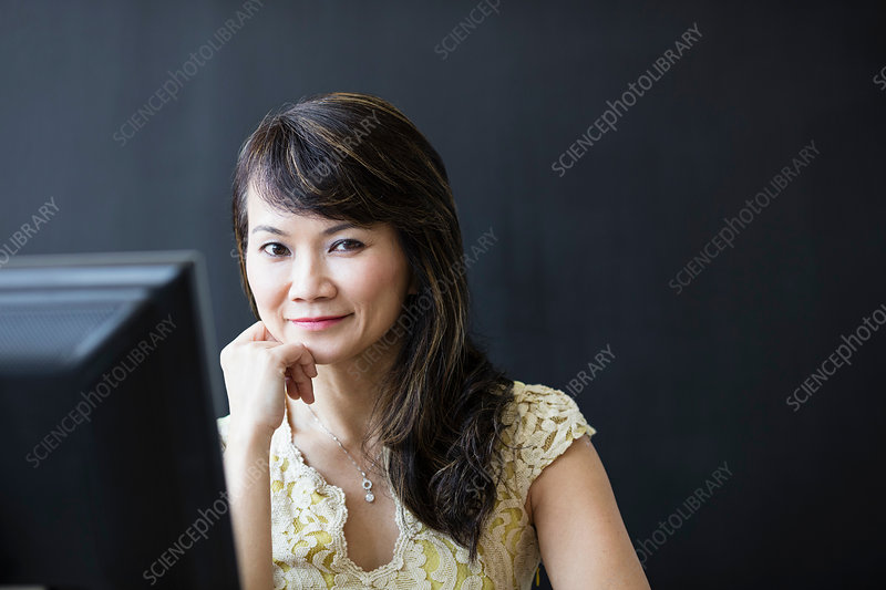 Business woman working at computer