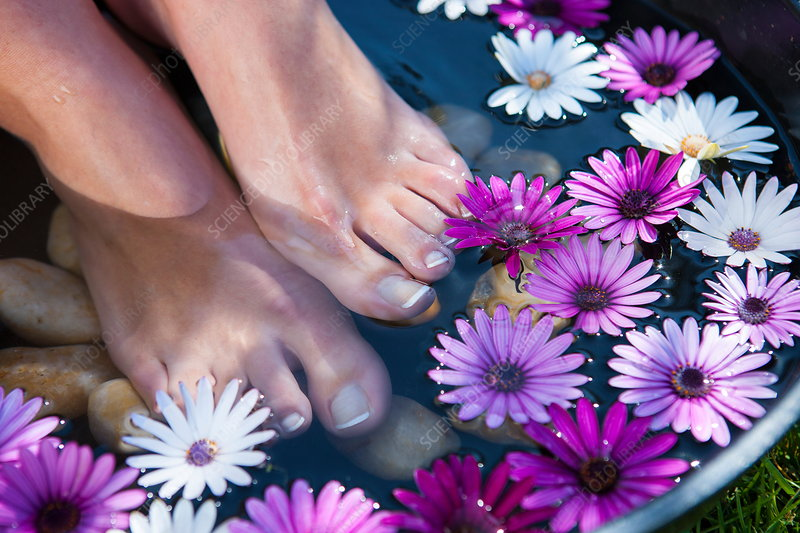 Woman's feet in foot bath, close-up, low section