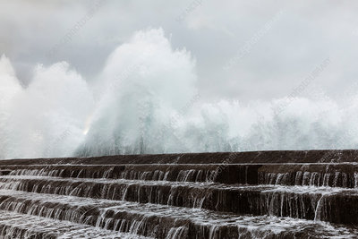 Sea water running over sea wall, Canary Islands, Spain