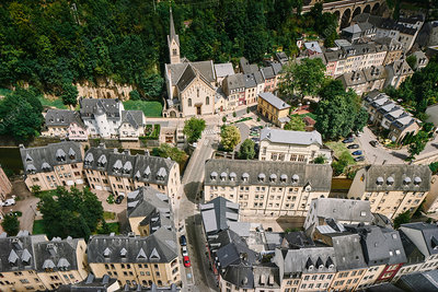 High angle view of the city of Luxembourg, Europe