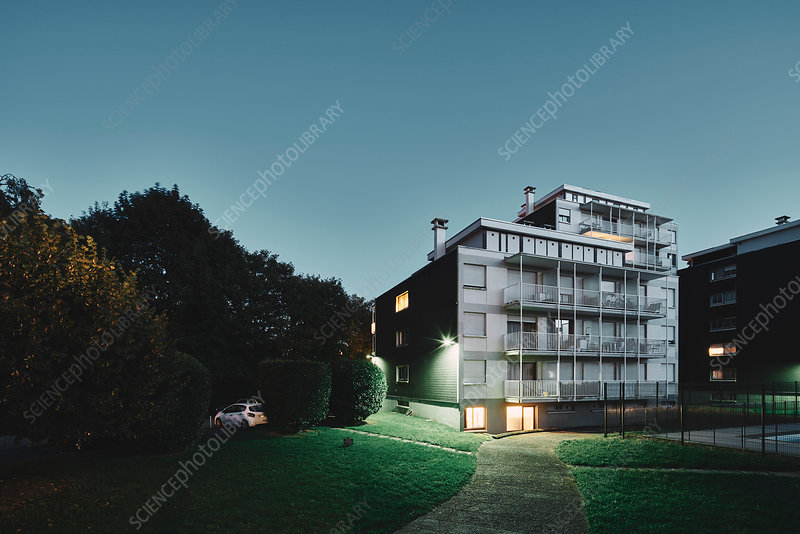 Apartment block at dusk, Chambery, Rhone-Alpes, France