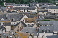 Elevated view of traditional townhouses, Amboise, France