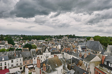 High angle cityscape of traditional townhouses, France