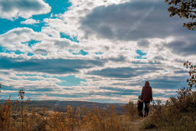 Mother and child walking, Ural, Bashkortostan, Russia