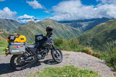 Touring adventure motorbike in the mountains of Colombia