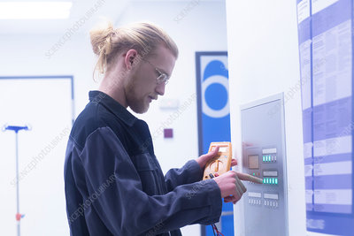 Electrician working in a hospital