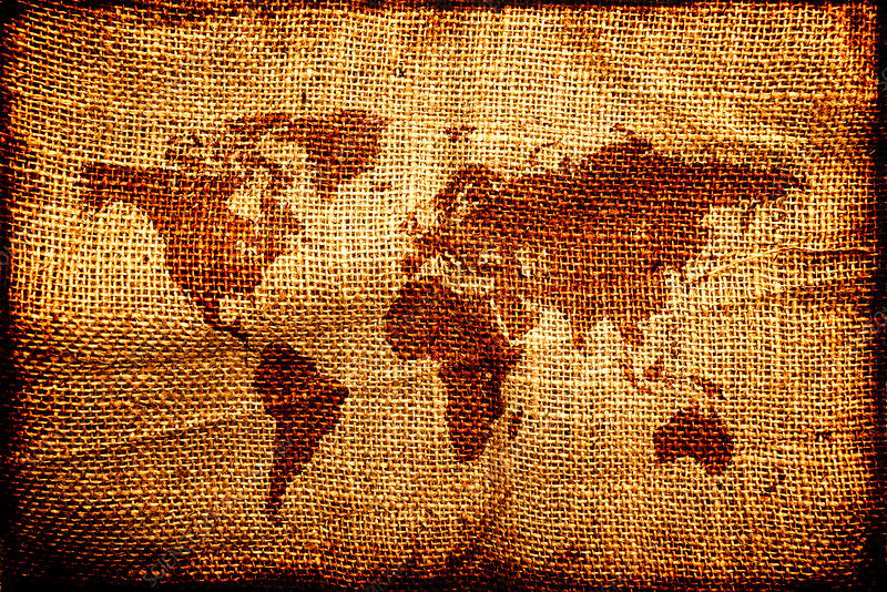 World map on hessian sack