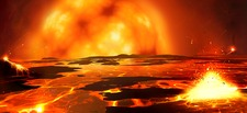 Sun as red giant melting Earth, illustration