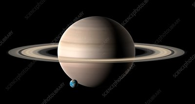 Earth compared to Saturn, illustration