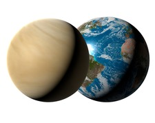 Earth compared to Venus, illustration