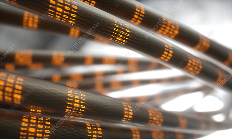 Abstract cables with binary code, illustration
