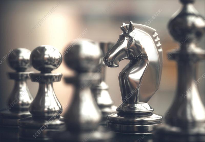 Chess knight piece, illustration