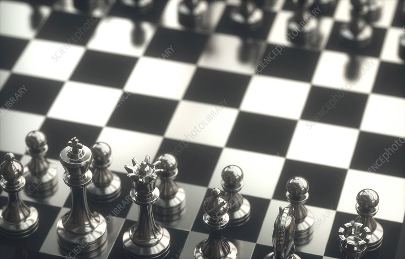 Chess pieces on board, illustration