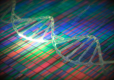 DNA sequencing and DNA strand, illustration