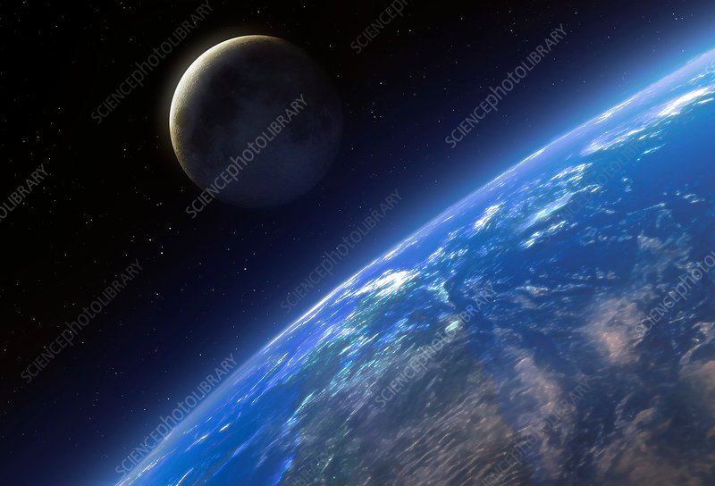 Earth and Moon from space, illustration - Stock Image - F021
