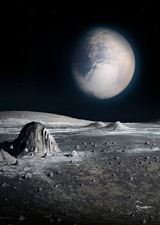 Pluto from the surface of Charon, illustration