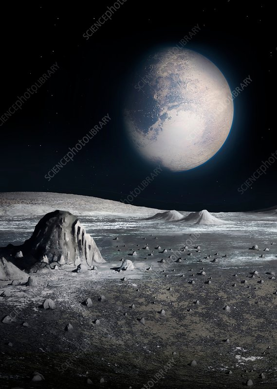 Pluto From The Surface Of Charon Illustration Stock Image