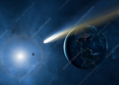 Comet and Earth, illustration