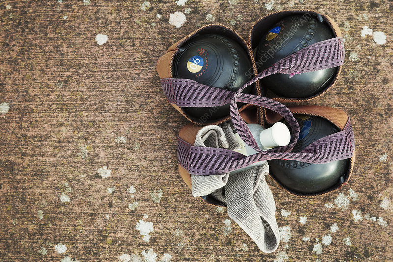Lawn bowls in carrier