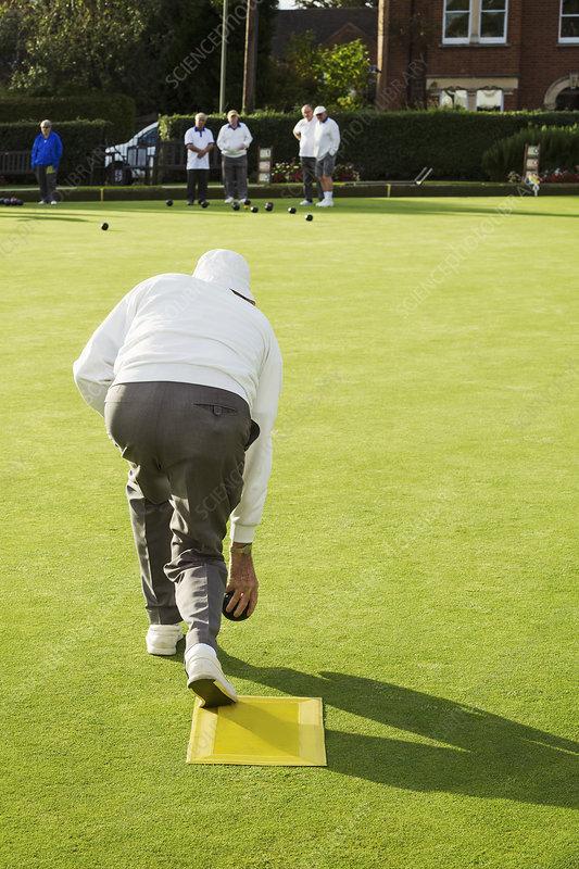 Lawn bowls player preparing bowl delivery