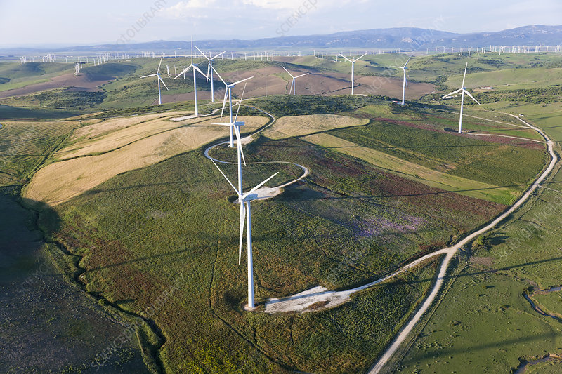 Fields with wind turbines