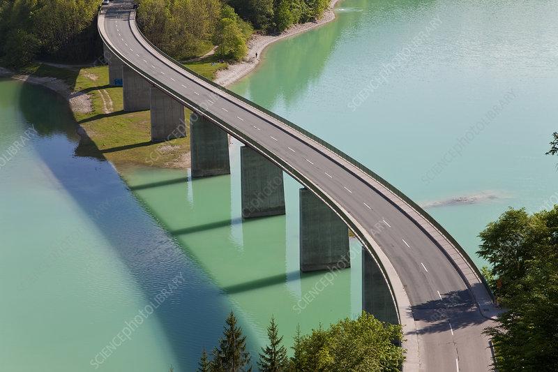 High angle view of road bridge crossing dam