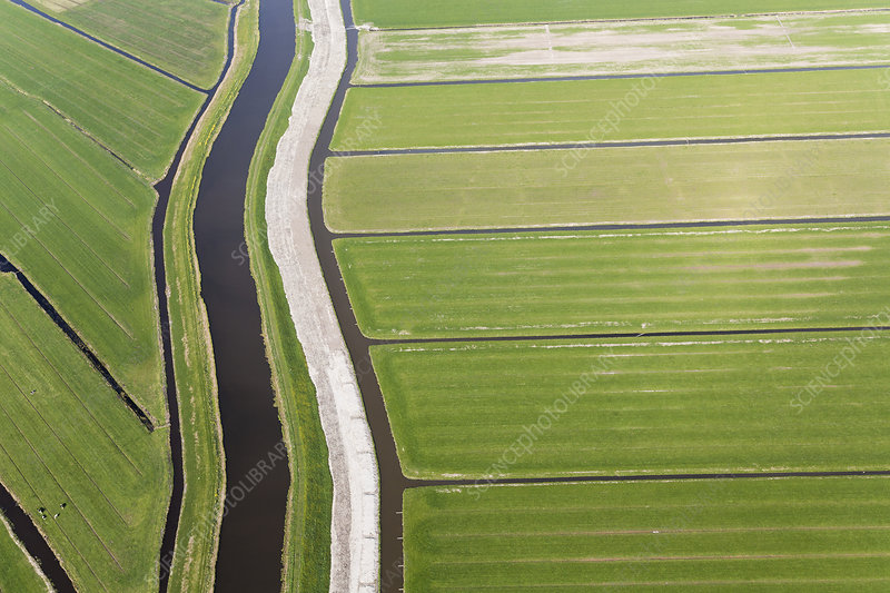 Aerial view of canals and reclaimed agricultural land