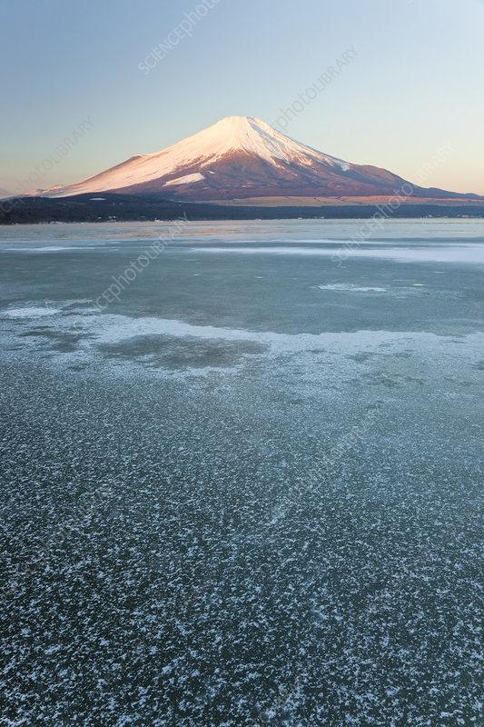 Lake Yamanaka and snow covered Mount Fuji, Japan