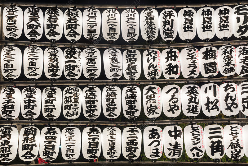Close up selection of traditional Japanese lanterns
