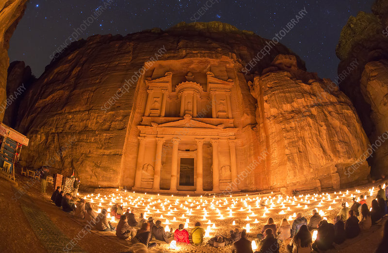 Al-Khazneh exterior, Petra, Jordan, at night